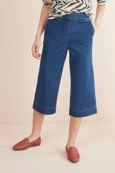 Трикотажные джинсовые кюлоты