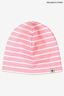 Polarn O. Pyret Pink Organic Cotton Striped Beanie Hat