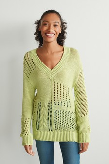 Cable Patch V-Neck Jumper