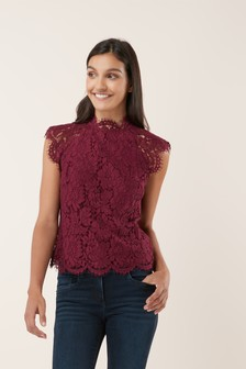 High Lace Neck Top
