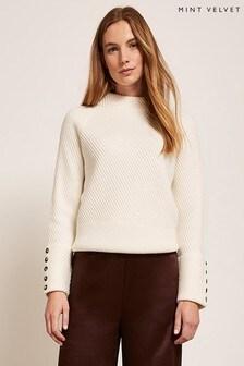 Mint Velvet Cream Buttoned Cuff Knit