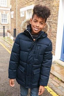 Удлиненное дутое пальто (3-16 лет)
