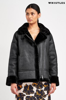 Whistles Faux Fur Aviator Jacket