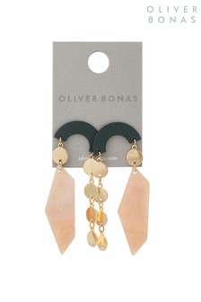 Oliver Bonas Multi Arnabel Curve  Disc Chain Drop Earrings