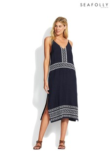 Seafolly Indigo Embroidered Linen Slip Dress