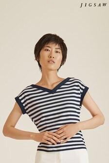 Jigsaw Blue Bardot Stripe Top