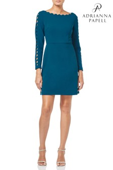 b974cc080f9e03 Adrianna Papell Deep Teal Scalloped Knit Crepe A-Line Dress