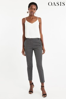 Oasis Natural Printed Cotton Trouser
