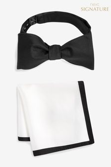 Signature Self-Tie Bow Tie And Pocket Square Set