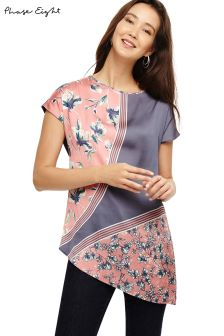 Phase Eight Grey Carla Mixed Floral Placement Print Top