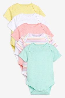 Spot And Stripe Short Sleeve Bodysuits Five Pack (0 חודשים-2 שנים)