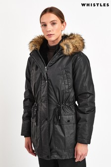 Whistles Black Hooded Parka