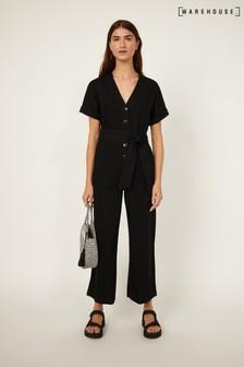 Warehouse Black Short Sleeve Belted Jumpsuit