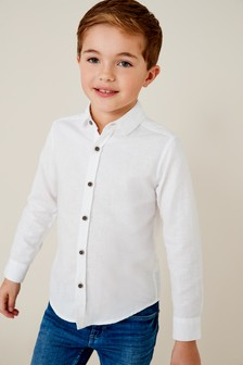 Long Sleeve Linen Mix Shirt (3-16yrs)