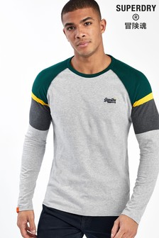 Superdry Langärmeliges Baseball-Shirt, Grau