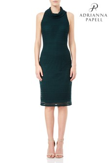 Adrianna Papell Green Cable Knit Lace Sheath Dress