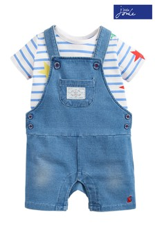 Joules Blue Duncan T-Shirt And Dungaree Set