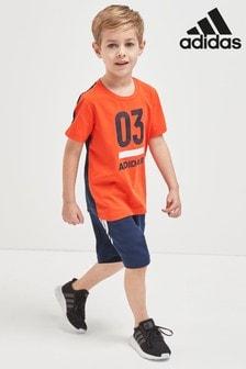 طقم شورت برتقالي 03 Little Kids Active من adidas