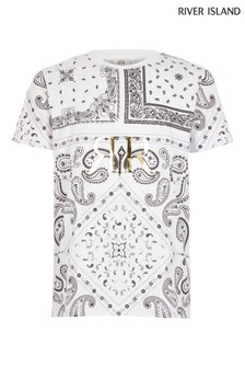 River Island White Paisley Embossed T-Shirt