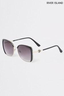 River Island Black Viola Glam Enamel Sunglasses
