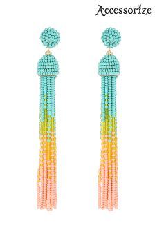 Accessorize Pink Fiji Ombre Beaded Rope Earrings