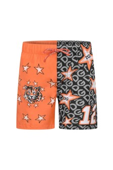Baby Boys Black And Orange Swimming Shorts