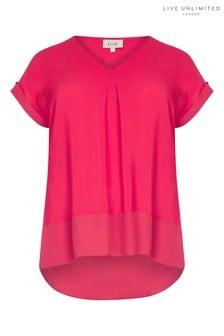 Live Unlimited Pink Morocian Blouse With Chiffon Hem