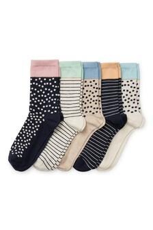 Pastel Tip Spot Ankle Socks Five Pack