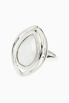 White Stone Statement Ring