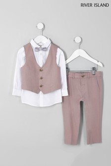 River Island Pink Linen Suit Set