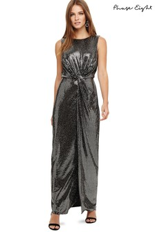 Phase Eight Silver Dahlia Shimmer Twist Maxi Dress
