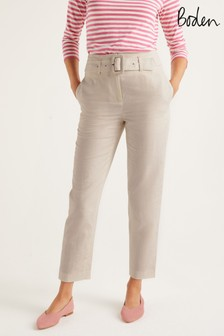 Boden Cream Holkham Belted Trousers