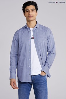 Tommy Hilfiger Blue Gingham Flex Slim Shirt