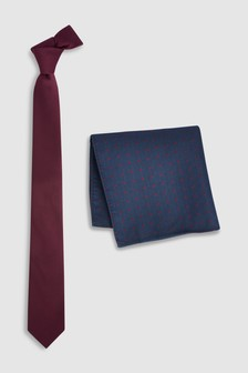 Textured Tie With Polka Dot Pocket Square Set