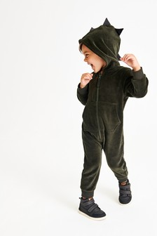 Velour Dino Spike All-In-One (3mths-7yrs)