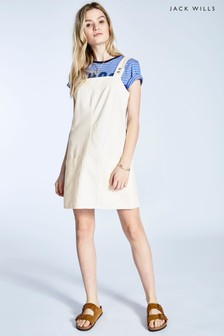 Jack Wills Ecru Jaden Denim Popper Dungaree Dress