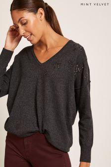 Mint Velvet Grey Beaded Star Knit