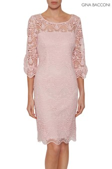 Gina Bacconi Pink Roxani Wavy Embroidered Dress