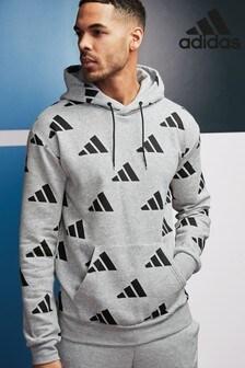 adidas Grey All Over Logo Overhead Hoody