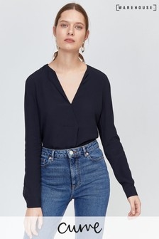 Warehouse Pleat V-Neck Top