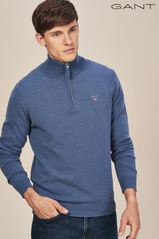 GANT Stone Blue Super Fine Lambswool Half Zip Knit Jumper