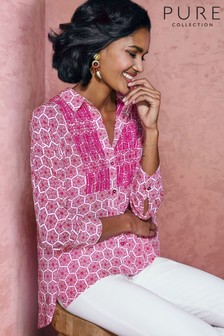 Pure Collection Pink Embroidered Printed Blouse