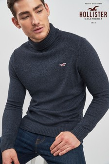 Hollister Navy Roll Neck Jumper
