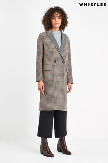 Whistles Cream And Grey Check Coat