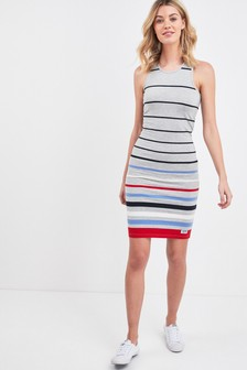 Superdry Grey Stripe Midi Dress