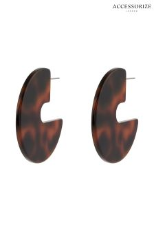 Accessorize Animal Tortoiseshell 70's Solid Hoop Earring