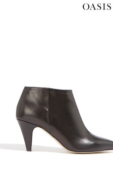 Oasis Black Alfie Leather Heeled Boots