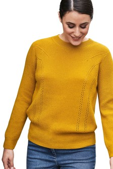 Pure Collection Yellow Gassato Ribbed Pointelle Sweater
