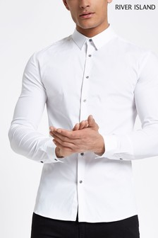 River Island White Long Sleeve Muscle Fit Shirt
