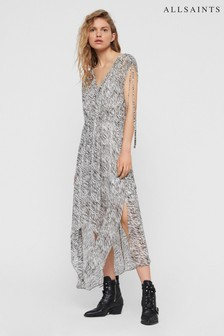 AllSaints Grey Zebra Kamila Midi Dress